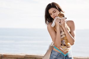 Kendall Jenner With Dogs Wallpaper