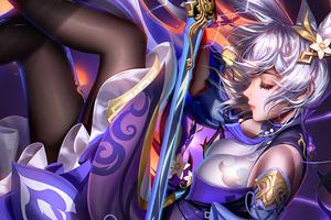 Keqing Warrior Girl 4k Wallpaper