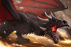 Khaleesi And Dragon Cartoon Artwork