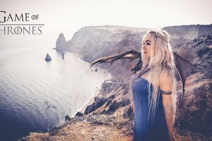 Khaleesi With Dragon Cosplay Wallpaper