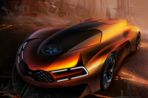 Kia Ko Steam Engine Electric Sports Fantasy Car Artwork