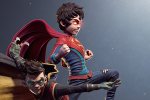 Kid Superman And Robin Digital Art