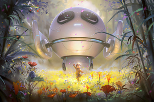 Kid With Giant Robot Friend Wallpaper