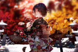 Kimono Dress Anime Girl 4k Wallpaper