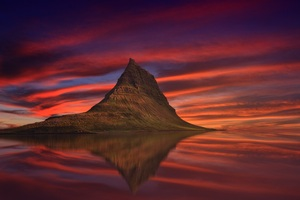 Kirkjufell Mountain Abenrot Sunset Dusk