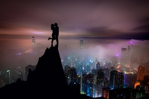 Kiss On Mountain Top Skycrappers Buildings Illustration Wallpaper