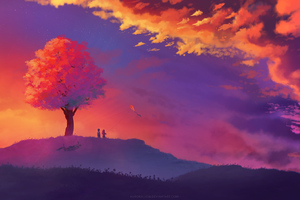 Kite Colorful Painting Sunset Tree