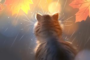 Kitten Rain Digital Art