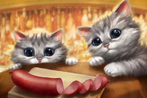 Kittens Seeing Sausage Wallpaper