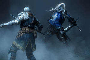 Knight Artorias Squaring Off Against Another Knight