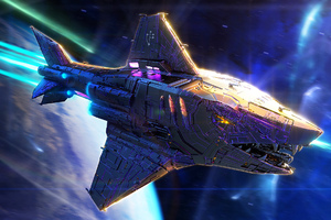 Knight Hunter Scifi Shark Spaceship Wallpaper