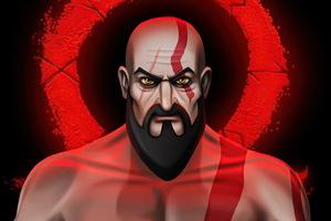 Kratos Cartoon Illustration 5k Wallpaper