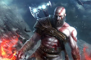 Kratos God Of War Art 4k Wallpaper