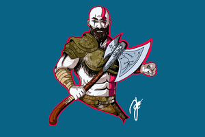 Kratos God Of War Artwork 4k Wallpaper