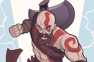 Kratos God Of War Digital Art 4k Wallpaper