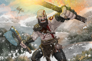 Kratos God Of War Fan Art 4k Wallpaper