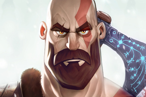 Kratos God Of War Illustration Wallpaper