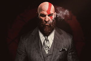Kratos God Of War In Suit 4k