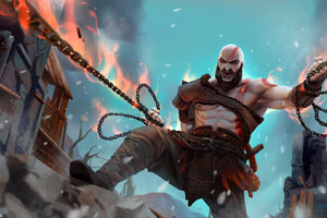 Kratos In God Of War Artwork Wallpaper