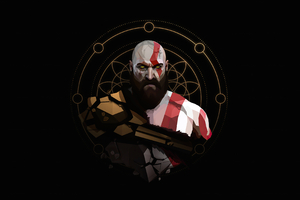 Kratos Minimal Artwork 4k Wallpaper