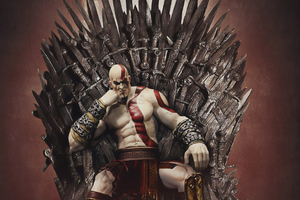 Kratos On Thrones Wallpaper