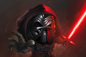 Kylo Ren Cartoon Art Wallpaper
