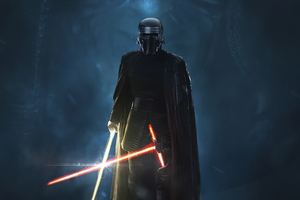 Kylo Ren Golden Lightsaber 4k Wallpaper