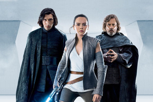 Kylo Ren Rey Luke Skywalker In Star Wars The Last Jedi Wallpaper