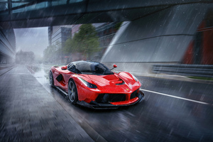La Ferrari In Rain 4k Wallpaper