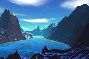 Lake 8k Blue Landscape Artistic