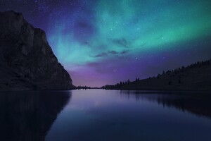 Lake Cyan Calm Water Reflection Northern Lights 4k Wallpaper