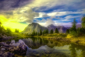 Lake Dolomites Trees Alps 5k Wallpaper