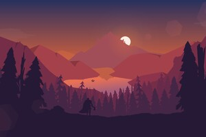Lake Forest Mountains Illustration 4k