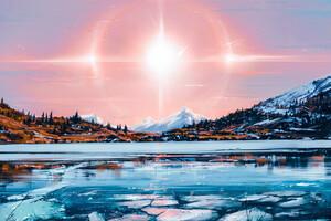 Lake Landscape Sunshine Artwork Wallpaper
