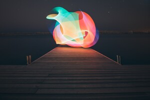 Lake Light Painting Minimalism Wallpaper