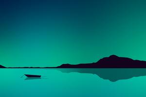 Lake Minimal Green 4k Wallpaper