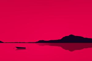 Lake Minimal Red 4k