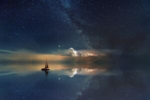 Lake Mirror Reflection Stars Boat Milky Way 5k