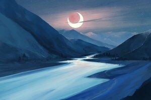 Lake Moon Night Illustration Wallpaper