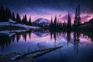 Lake Nature Night Reflection Wallpaper