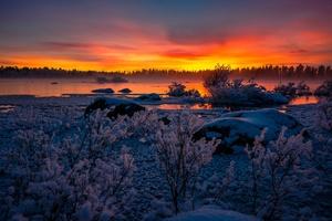 Lake Nature Snow Sunset