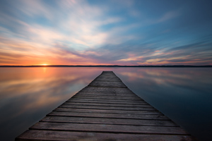 Lake Pier Evening Sunset 5k Wallpaper