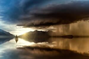 Lake Refection Small Boat 5k Wallpaper