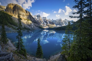 Lake Scenery Alberta Trees 5k Wallpaper