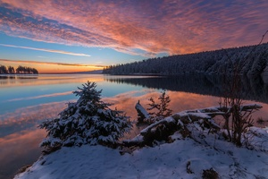Lake Snow Evening Sunset 5k Wallpaper