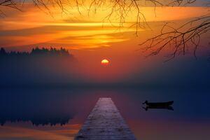 Lake Sunset Reflection 5k