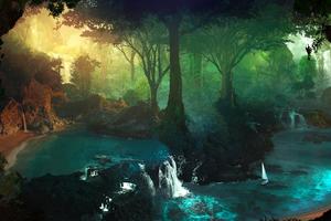 Lake Tropical Jungle Water Wallpaper