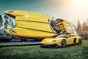 Lamborghini And Boat