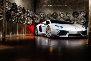 Lamborghini Aventador On Adv1 Wheels Wallpaper
