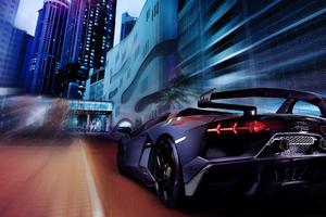 Lamborghini Aventador Rear Night Wallpaper